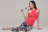 Pink yoga tank and floral legging outfit
