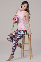 Pink Yoga Top and Floral Yoga Pant Spring Activewear set