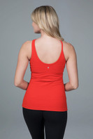 red yoga top back