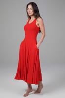 Midi Fit & Flare Yoga Dress in Fiery Red