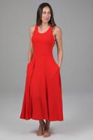 Midi Fit & Flare Yoga Dress (Fiery Red)