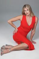 wrap dress in fiery red