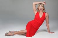 v-neck yoga dress in red