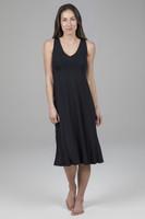 V-Neck Mid Length Yoga Dress in Black