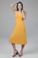 Flattering V-Neck Yoga Dress Yellow