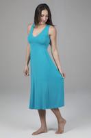 V-neck Midi Dress in Tile Blue