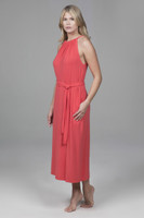 High Neck Spring Mid Length Dress with Pockets