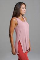 Side Split Yoga Tank Top in Light Pink