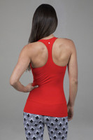 red yoga top