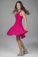 Fit & Flare Dress in Raspberry SideTwirl