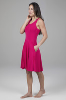 Fit & Flare Yoga Dress Raspberry Side