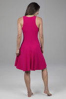 Fit & Flare Dress in Raspberry Back View