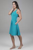 Fit & Flare Yoga Dress Tile Blue Side Shot