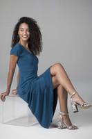 Short Sleeve V-Neck Dress (Moroccan Blue)