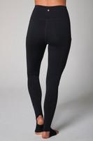 black yoga legging with footie feature