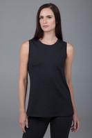 long black sleeveless yoga top