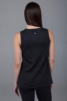 black sleeveless yoga tunic