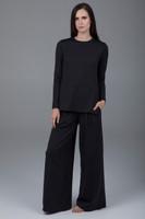 Black side split long sleeve tunic