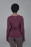 Side Ruched Long Sleeve Yoga Top (Plumberry)