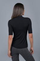 Mock Neck Short Sleeve Black