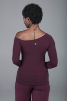 yoga top with off the shoulder design