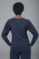 navy shoulder yoga sweater