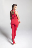 Tiffany Cruikshank wearing the Glamour Goddess Hi-Waist Yoga Tight in Ruby.