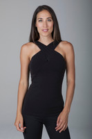 Glamour Goddess Luxe Halter Criss-Cross Top Black front view