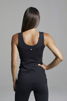 Black Scoop-Back Yoga Tank with Side Ruched Detail back view