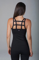 Caged Strappy Back Black Yoga Tank Top back view