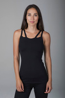 Supportive Multi-Strap Black Tank with Built-In Bra