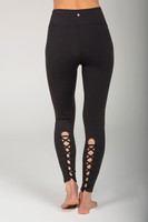 Black Lace Up Leggings with Waistband Pocket back view