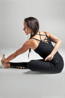 Black Swan Lace Up 3-Piece Yoga Outfit yoga pose