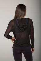 Black Sheer Mesh Zip-Up Hoodie back view