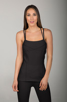 Goddess Thin Strap Corset Cami in Black front view