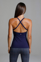 Navy Blue Grace Yoga Halter with Criss Cross Back