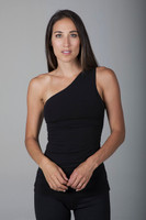 Goddess Luxe Black One Shoulder Tank Top front view