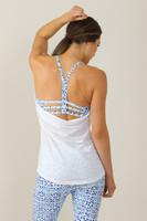Grace En Pointe Y-Back Yoga Top (White/Riviera print)