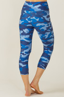 Ultra High Waist Pocket Yoga Capri (Blue Camo)