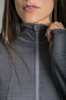 Zipper and thumbhole details of the Grace Half Zip Pullover in Glen Plaid
