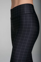 Close up detail of Grace High-Waisted Yoga Legging in Windowpane print
