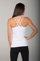 Strappy Criss Cross Back Tank Top in Solid White