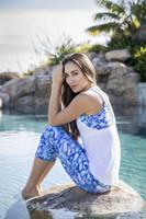 Summer Vacation Print Capri Yoga Leggings poolside