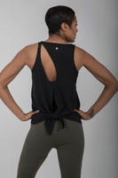 Back Cut-Out Seva Tank Top in Black back view