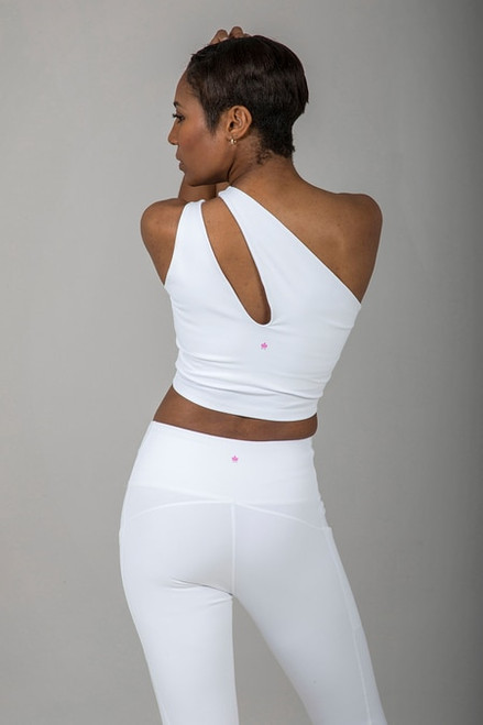 Seva One Shoulder Yoga Crop Top in White