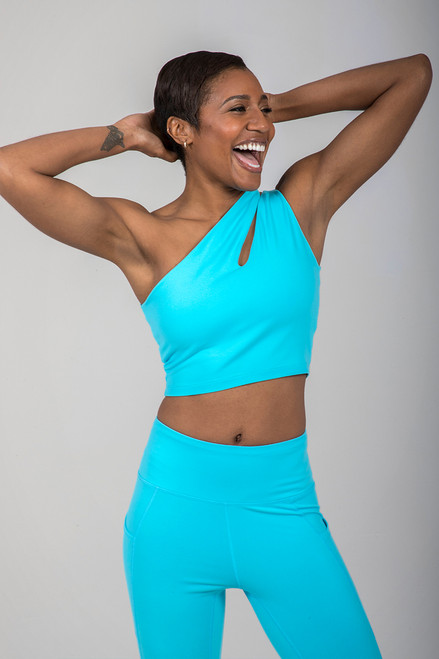 Seva One Shoulder Yoga Crop Top in Calypso