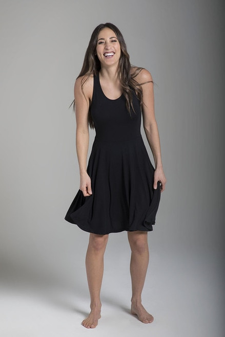 Fit & Flare Yoga Dress (Black)
