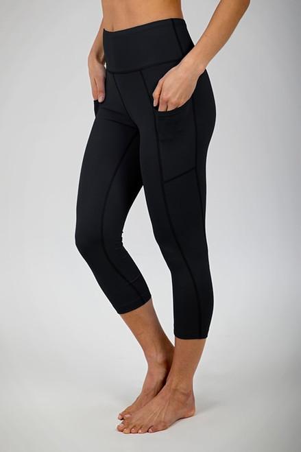 Ultra High Waist Pocket Yoga Capri (Black)