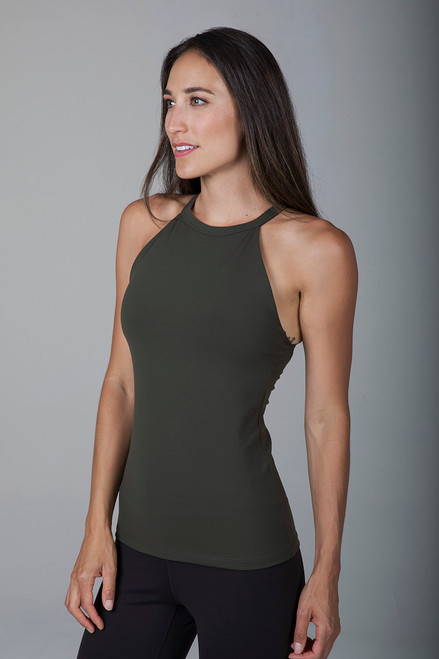 Army Green High Neck Tank Top