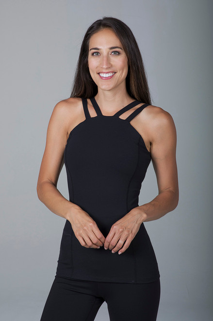 Black Long and Lean Tank Top front view